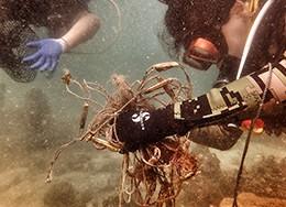 海底清洁废网编织